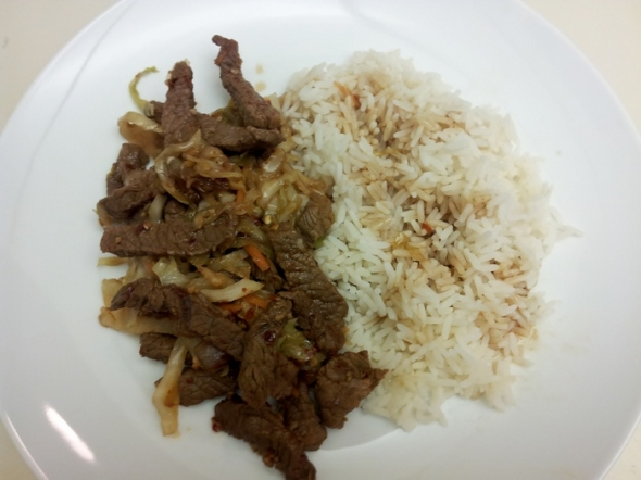 Spicy Garlic and Pepper Beef Final Product