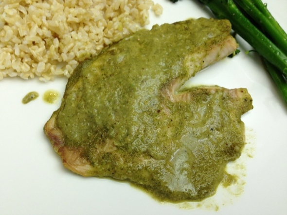 Tilapia with coconut-cilantro sauce